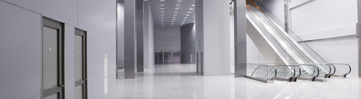 Elevators in a modern business building